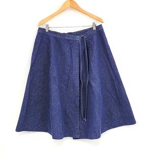 Handmade Dark Blue Wash Midi Skirt